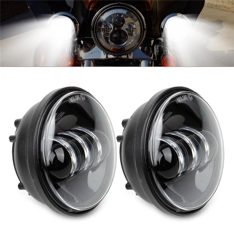 2 Pcs Motorcycle Accessories Black Daymaker LED Moto Fog Lamp 4-1/2 Inch Round Headlamp Harley Davidsion Chrome Auxiliary Lights