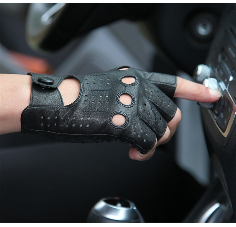 2018 The Latest High-Quality Semi-Finger Genuine Leather Gloves Men'S Thin Section Driving Fingerless Sheepskin Gloves M046P-5