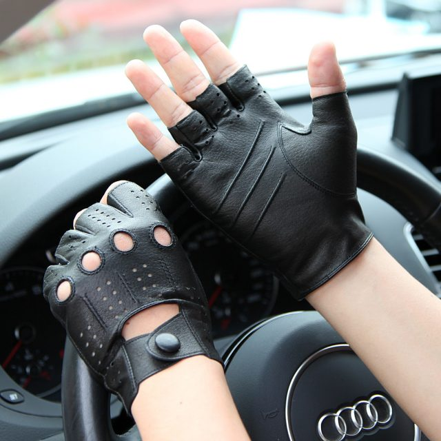 Semi-Finger Genuine Leather Gloves