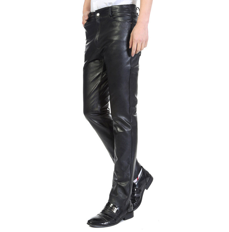 Genuine leather pants male goat tight leather pants straight slim windproof motorcycle denim edition