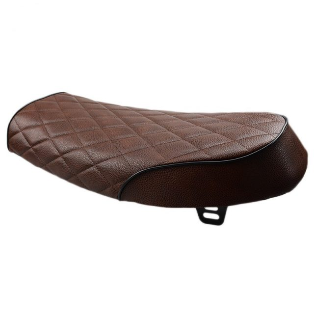 Quilted Dark Brown Leather Motorcycle Seat