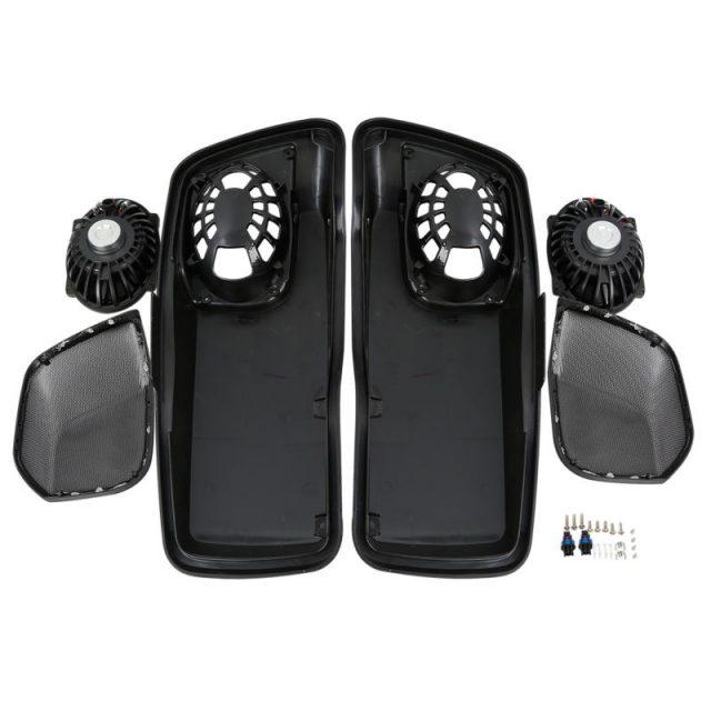 Black Saddlebag Lids W/ 5″X7″ Speakers For Harley Touring Road King Road Electra Street Ultra-Classic FLHRC FLHT FLT 14-18