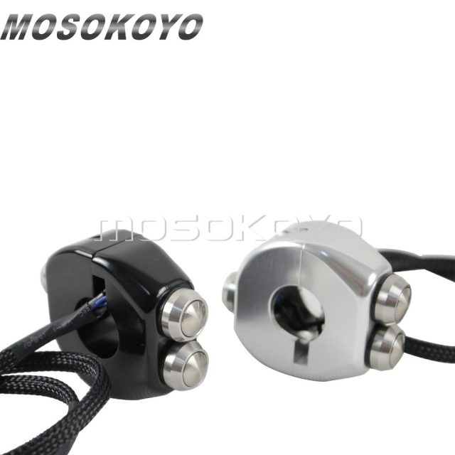 Black Sliver 1″ Handlebar 3 Push-Buttons Controls