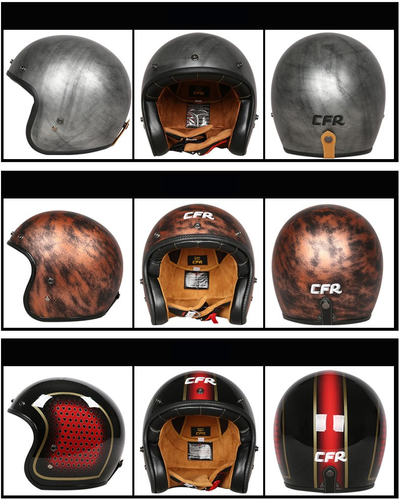 CFR fiberglass 3/4 Jet helmet DOT ECE approved open face motorbike helmet Moto Casco