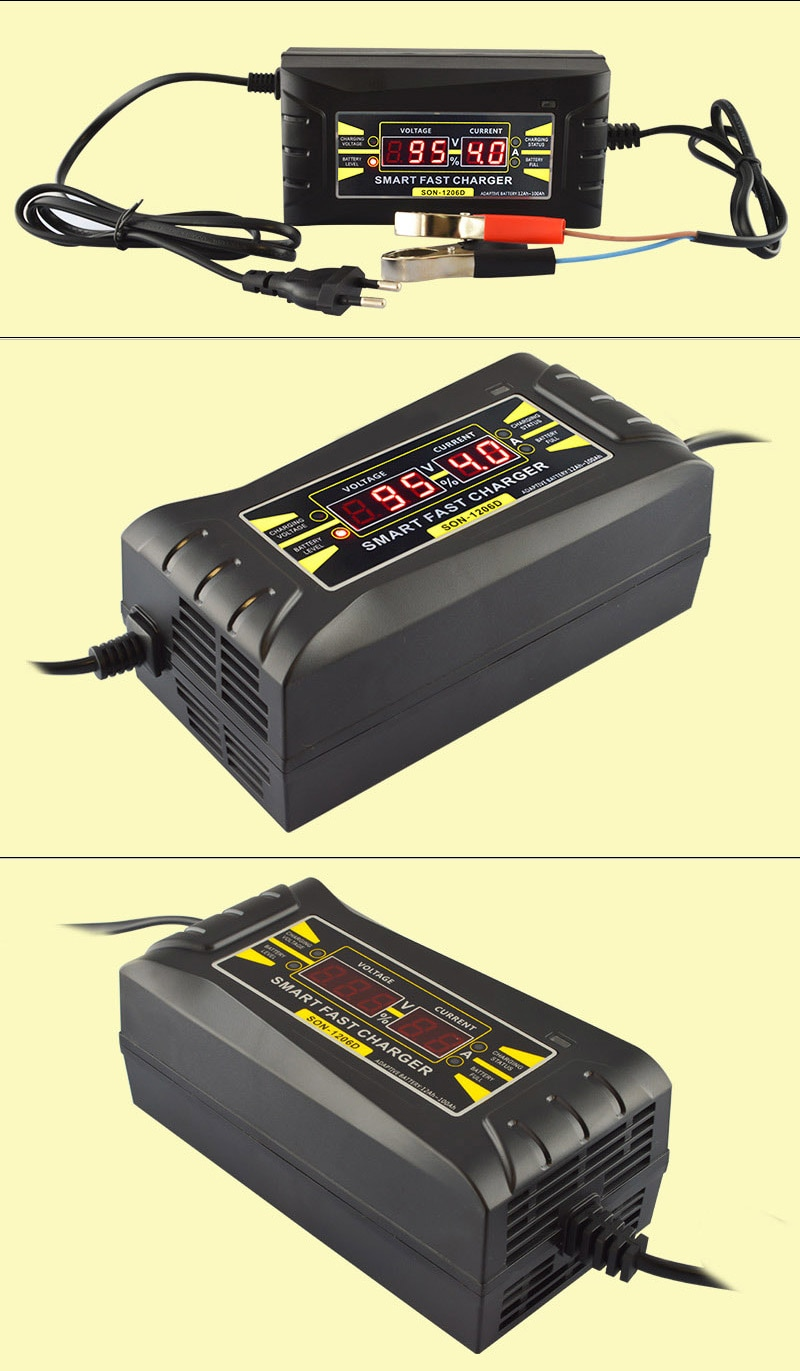 Automatic Car Smart Battery Charger 110V to 220V 6A 12V Intelligent Fast Power Charging Wet Dry Lead Acid Digital LCD Display