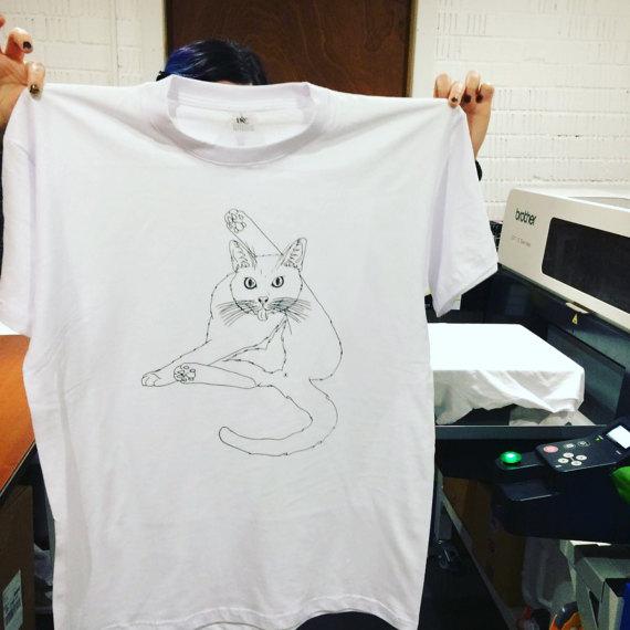 T-Shirt Cat Licking Butt