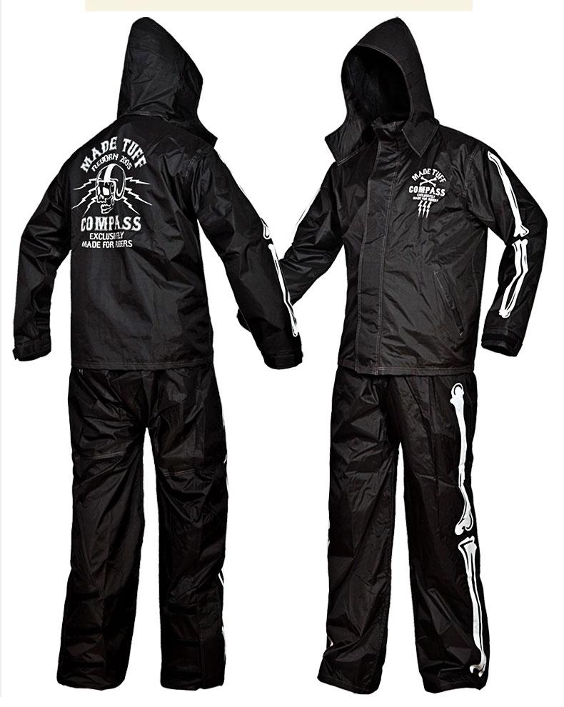 Skull motorcycle rain suit black motorbike rain gear Pole moto raincoat suit outdoor fishing riding rain wear against heavy rain
