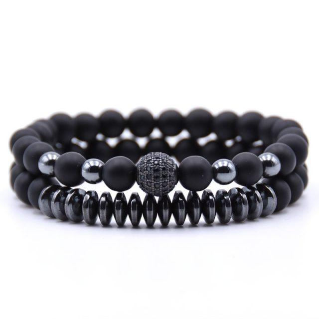 2PCS/Set Matte Black Natural Stone Bracelet