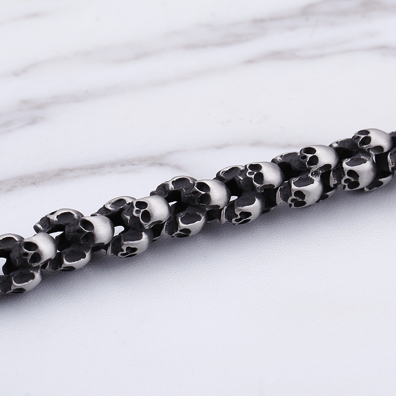 Kalen Punk 22.5cm Long Skull Bracelets For Men Stainless Steel Shiny Skull Charm Link Chain Brecelets Male Gothic Jewelry 2018