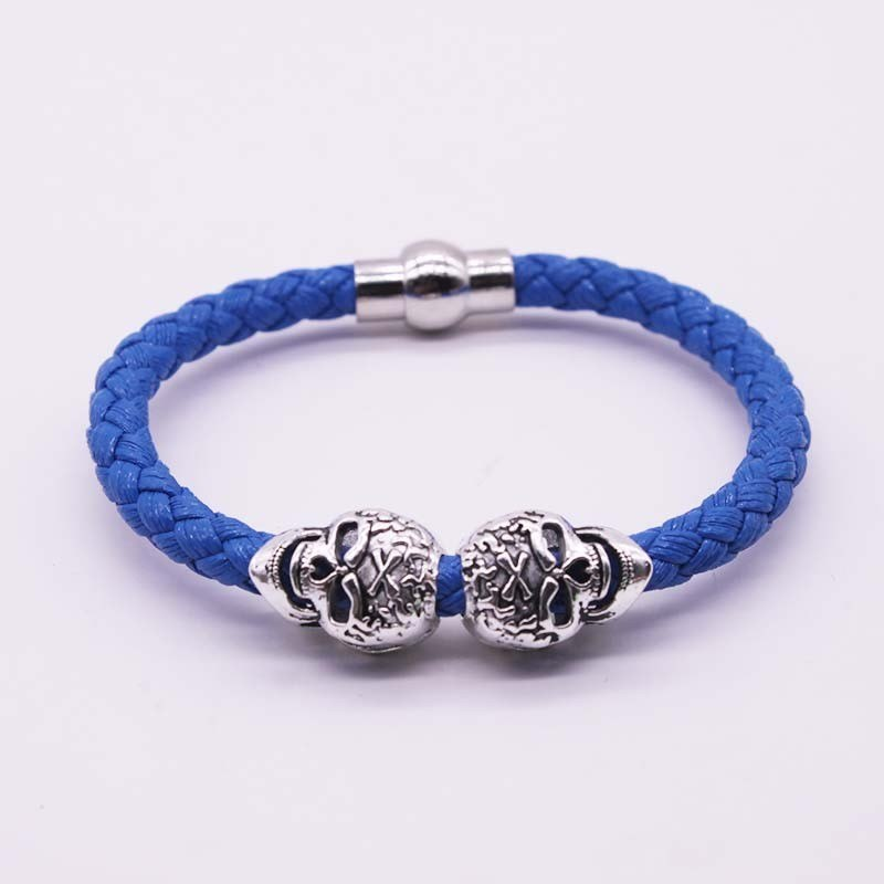 2017 Hot Selling Fashion Braided Leather Bracelets Gold Skull Bracelet Punk Wrap Bracelet Women Men
