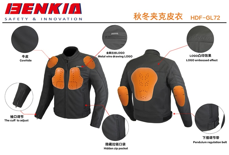 2018 Autumn Winter Benkia Motorcycle Leather Jacket Waterproof Windproof Black Leather Motocross Racing Jacket Off Road Riding