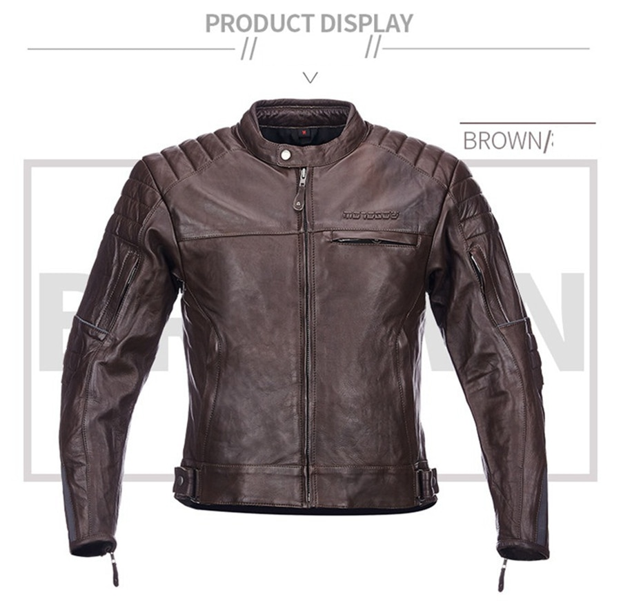 Free shipping 1pcs Men's Winter Genuine leather Warm jacket motocross Slim fit Jacket Cowhide Motorcycle Jacket with 5pcs pads