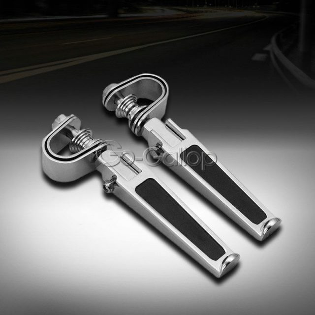 Motorcycle Street Bike U-clamp Foot Pegs With 1″~1-1/4″ Highway Engine Crash Bar
