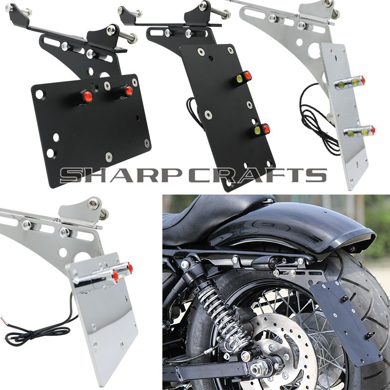 Motorcycle Tail Light Side Mount License Plate Bracket Fits For Harley Sportster Iron 883 1200 XL883 XL1200 72 48 Chopper Bobber