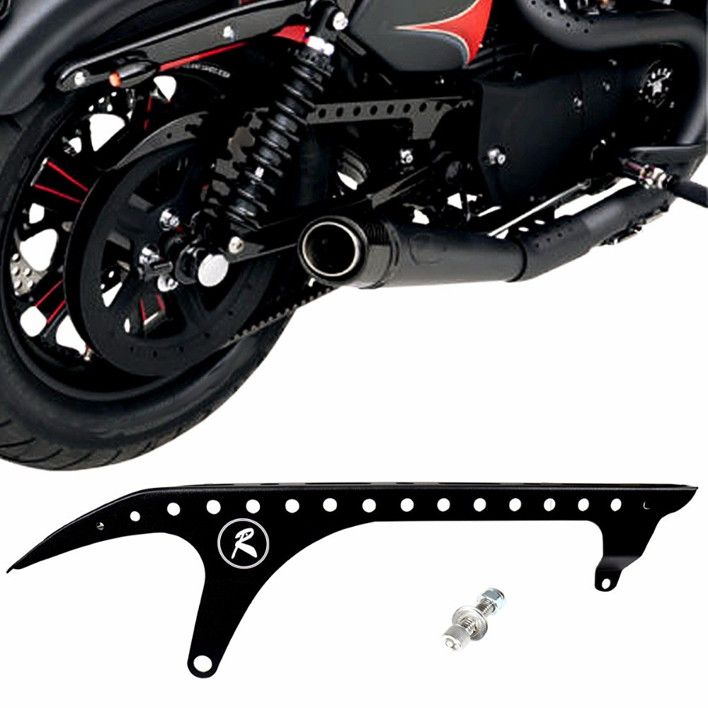 Motorcycle Rear Pulley Guard Black Drive Pulley Cover For Harley Sportster XL 883 1200 48 72 SuperLow Nightster 2004-2018 Model