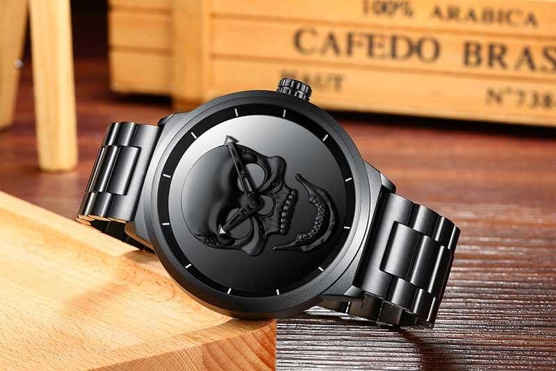 Men Watch Brand Cool Punk 3D Skull Biden Luxury Steel Gold Black Vintage Quartz Male Watches sport clock Relogio Masculino