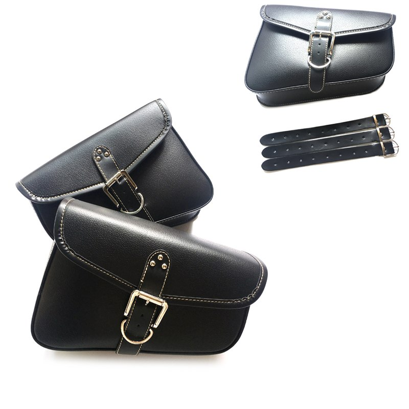 Black Synthetic Leather Right/left Side Motorcycle Saddlebag Saddle Bag For Harley Sportster XL 883 XL 1200 D25