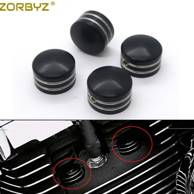 Black / Chrome Spark Plug Head Bolt Cap Cover For Harley Davidson