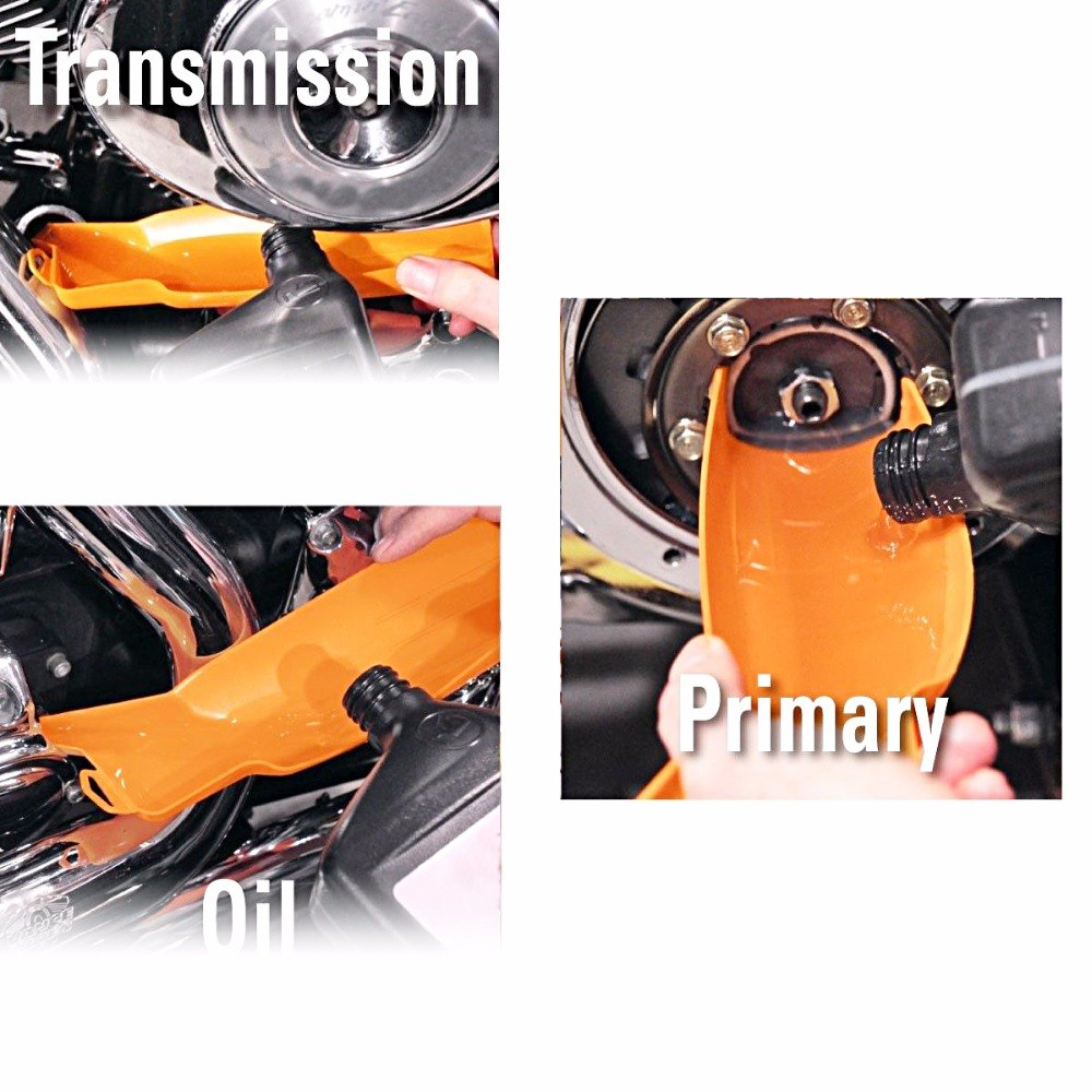 Motorcycle Orange Drip-Free Oil Filter Funnel For All Harley Sportster XL 883 1200 Road King Street Glide Dyna Softail