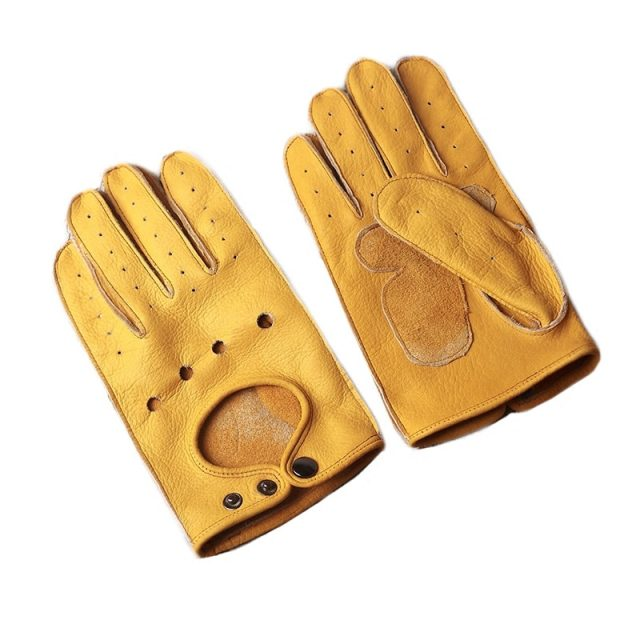 Men Cow Leather Driving Gloves