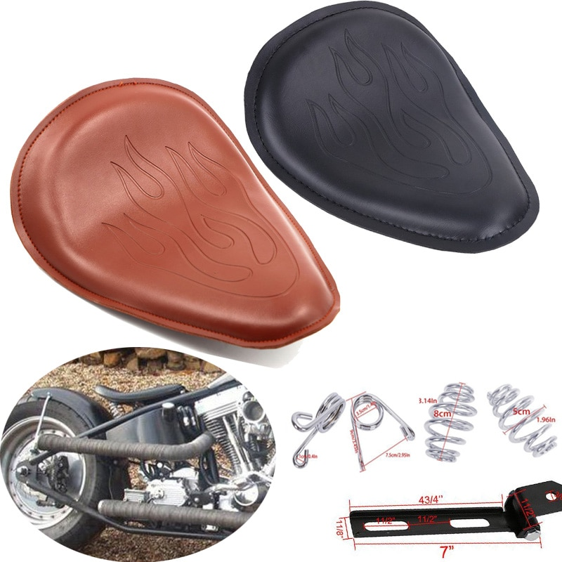 For Harley Dyna Sportster XL883 XL1200 Custom Bobber Chopper Honda Yamaha Kawasaki Motorcycle SOLO Seat Bracket Brown Black