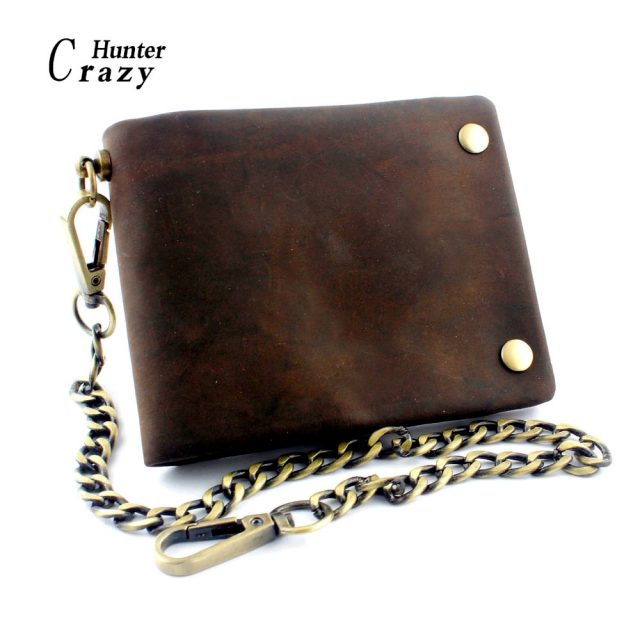 Button Vintage Biker Wallet With Chain – Genuine Leather
