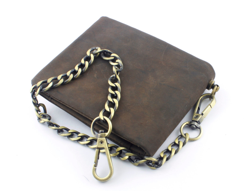 Button Vintage Biker Wallet With Chain - Genuine Leather