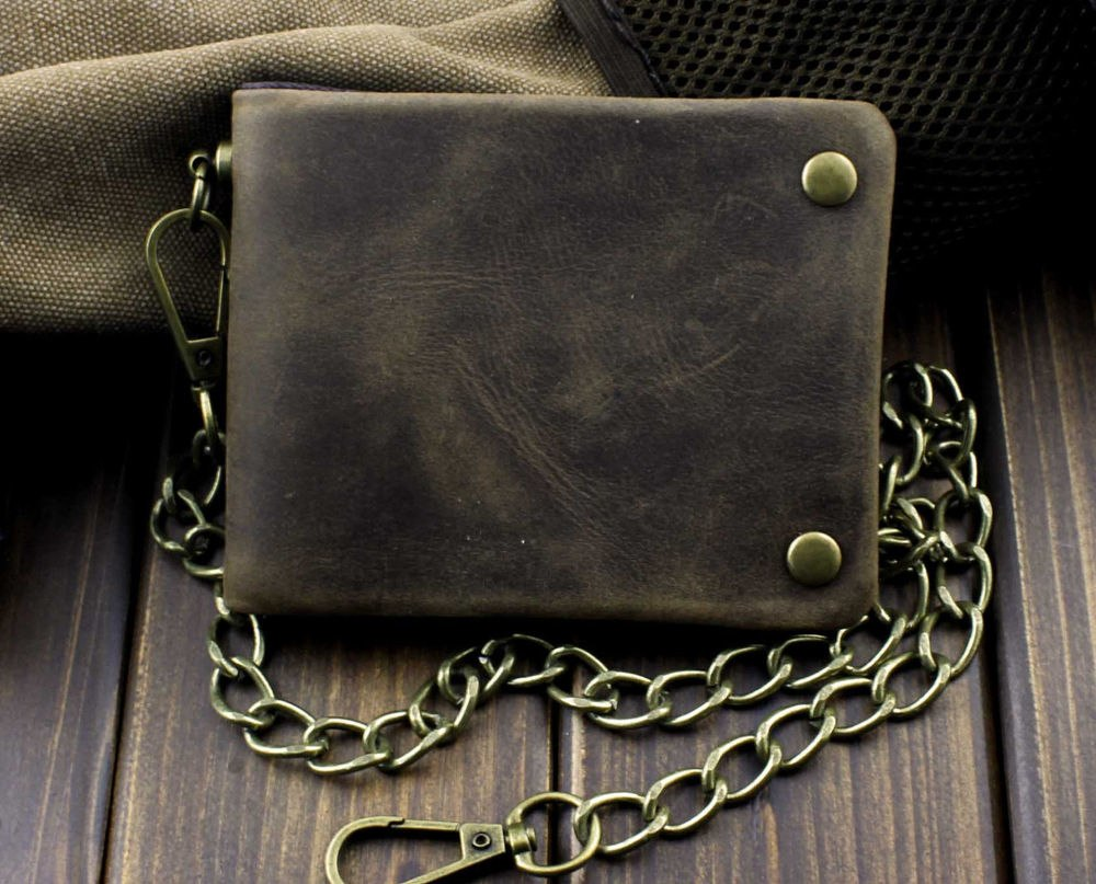 Tow Brass Snap Button Wallet With Chain - Real Leather