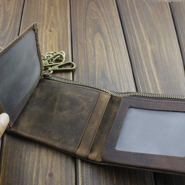 Tow Brass Snap Button Wallet With Chain – Real Leather