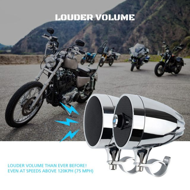 MP3 Player Bluetooth Speakers for Motorcycle Waterproof – Chrome