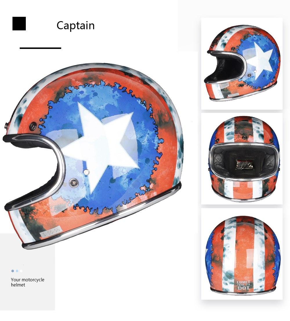 Fiberglass Full Face Motorcycle Helmet Retro Classic Vintage Style Helmet,Chopper,Cafe Racer,Crusier,Street Bike,DOT approved