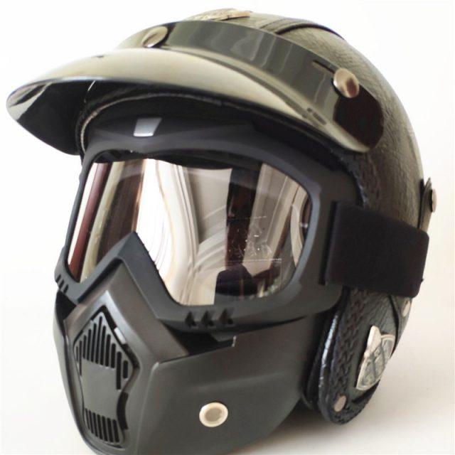 Open Face PU Leather Helmet