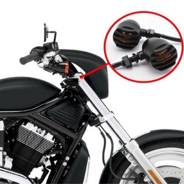 4Pcs Motorcycle Retro Black Grill Bullet Turn Signal Light