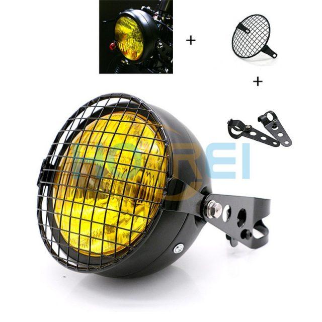Retro Metal Grid 35W Halogen Headlight