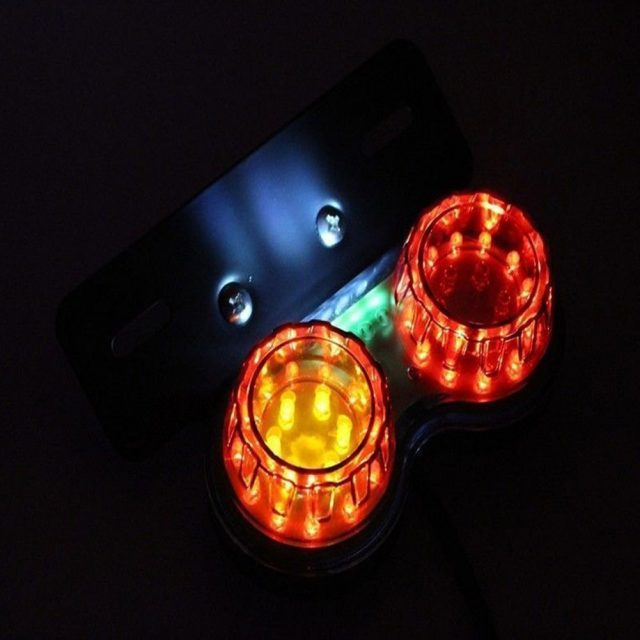 Retro LED Twin Dual Tail Brake Light with License Plate Light