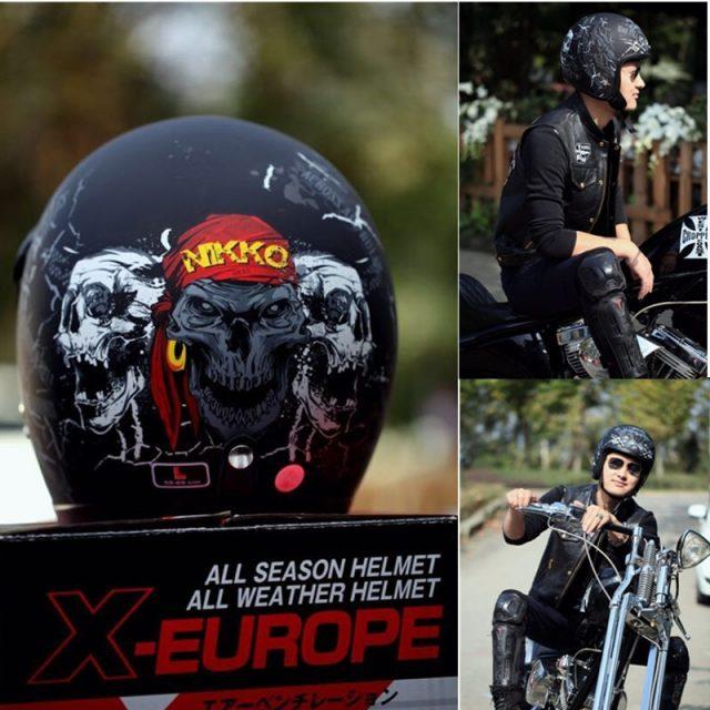 New vintage motorcycle helmet harley retro jet helmets open face moto helmet Pirate style matte black ABS Material S M L XL XXL