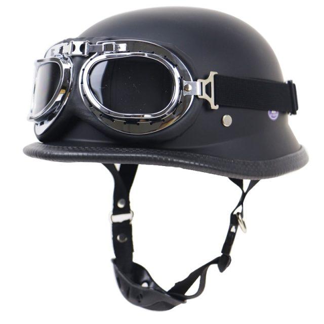 Lightweight Retro Motorbike Helmet and Goggles